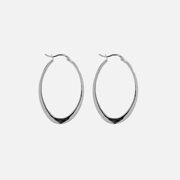 Flat Oval Hinge Hoop Earrings