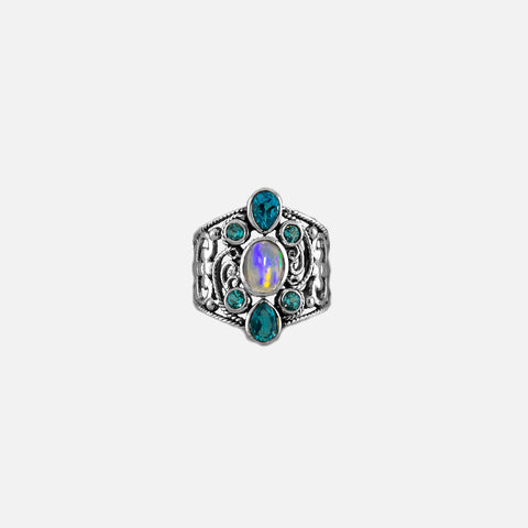 Elegant Ring with Blue Topaz and an Ethiopian Opal