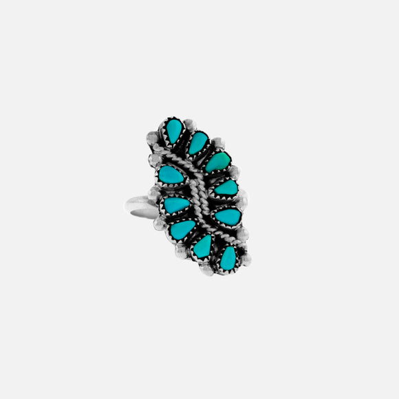 Native American Vine and Leaf Turquoise Ring
