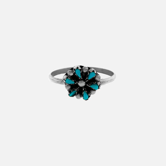 Small Native American Turquoise Flower Ring
