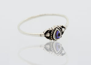 Delicate Sterling Silver Ring with Teardrop Shape Abalone