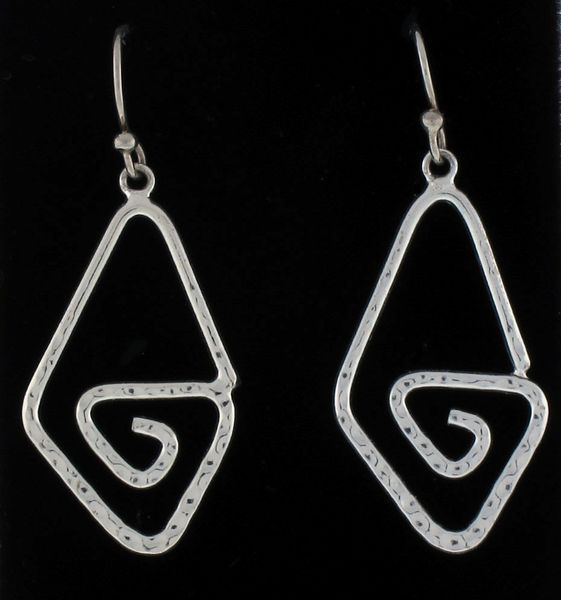 Hammered Triangle Spiral Dangle Earrings