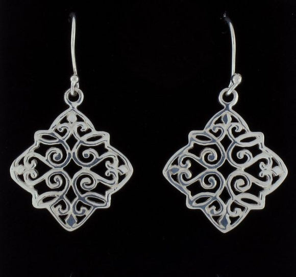 Diamond Shaped Dangle Earrings with Freestyle Design