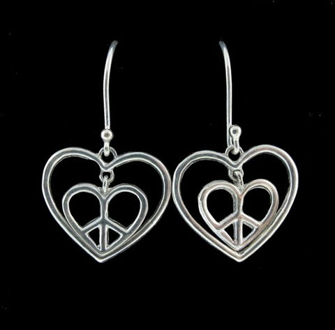 Spinning Hearts/Peace Signs Earrings
