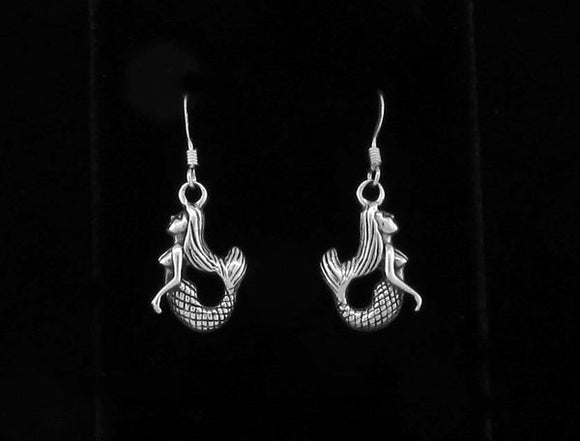 Silver Mermaid Dangle Earrings
