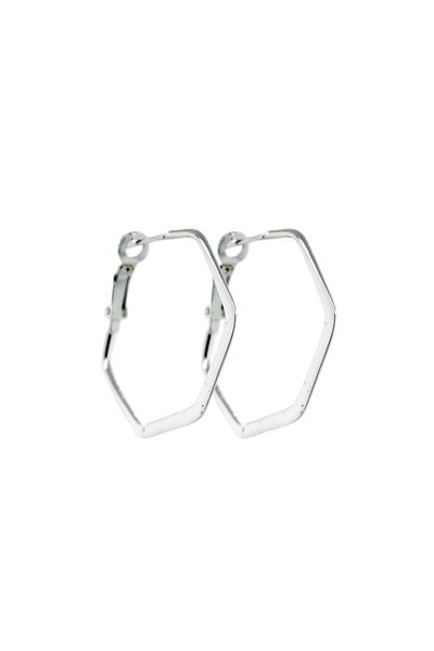Small Flat Hexagon Hinged Hoops