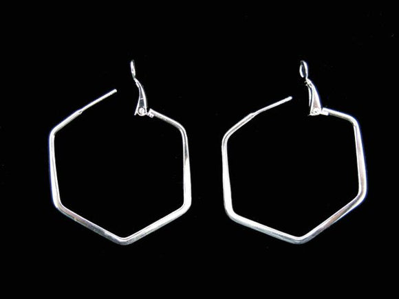 Hexagon Medium Hoop Earring