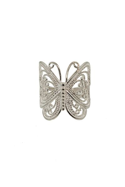 Butterfly Large Silver Ring