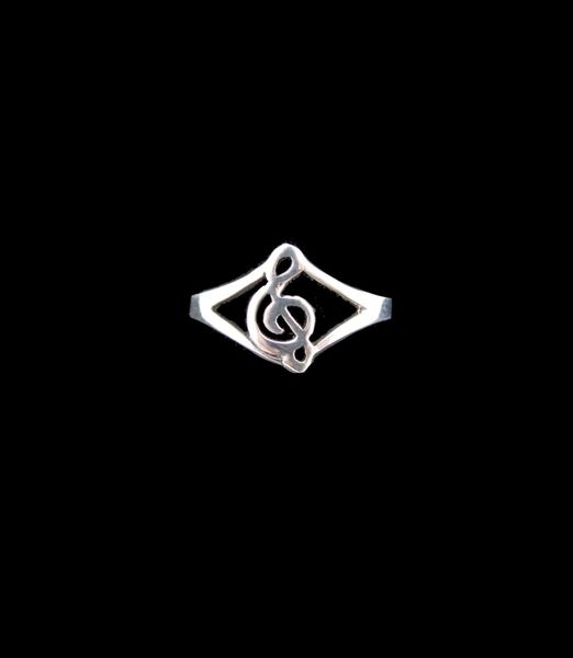 Treble Clef Thin Band Ring
