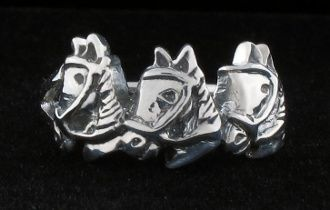 Three Horse Heads Silver Ring