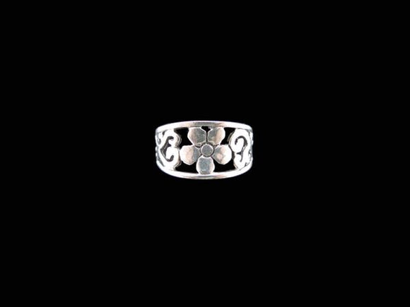 Flower Tapered Band Silver Ring