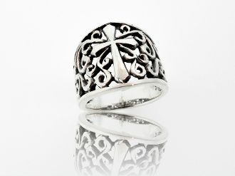 Thick Band Cross Ring With Open Filigree