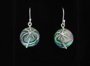 Abalone Shell Earrings with Silver Palm Tree