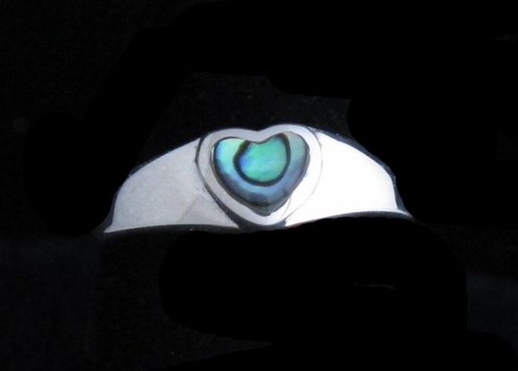 Small Heart Abalone Ring