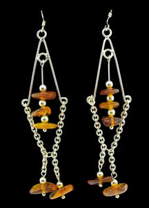 Diamond Amber Tassel Earrings