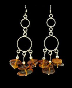 Hoop Dangle Earrings with Amber