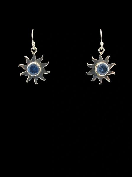 Blue Topaz Sun Star Earrings