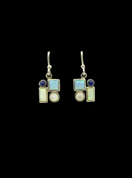 Multicolor Created Opal Lapis Square Circle Dangle Earrings