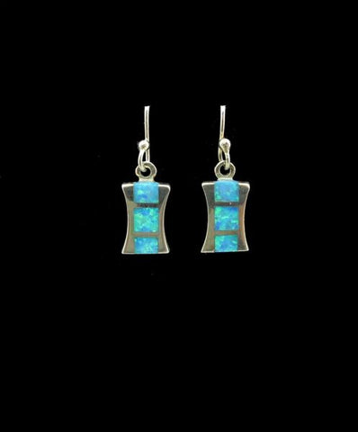 Blue Created Opal Earrings