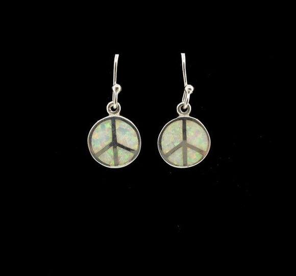 White Created Opal Round Pacific Sign Earrings