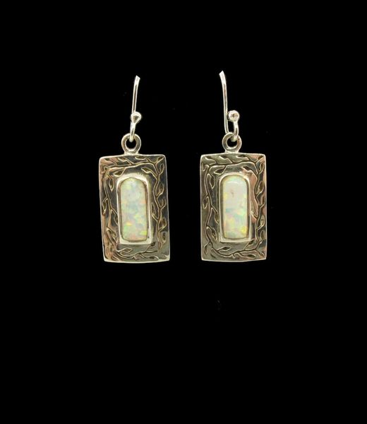 White Created Opal Square Earrings