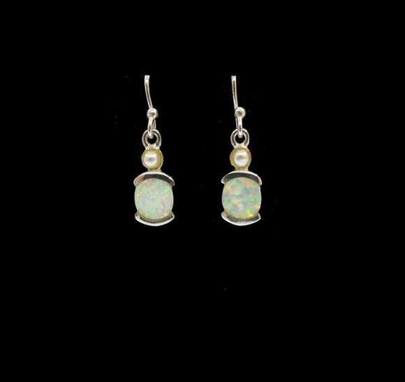 White Created Opal Oblong Earrings