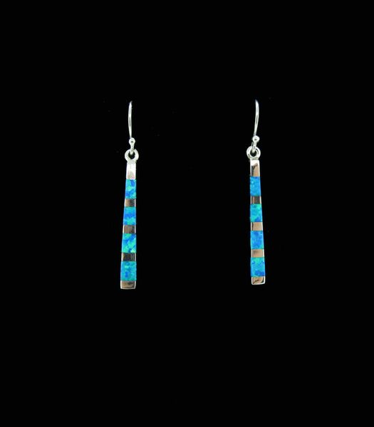 Blue Created Opal Rectangle Earrings