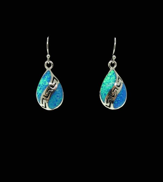 Blue Created Opal Teardrop Shape Earrings