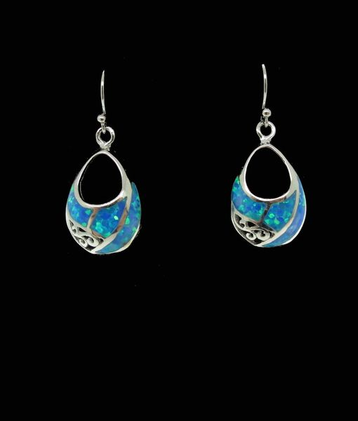 Blue Created Opal Teardrop Earrings