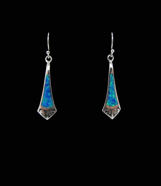 Blue Created Opal Elongated Tie Shape Earrings