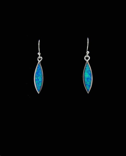 Blue Created Opal Marquise Shape Earrings