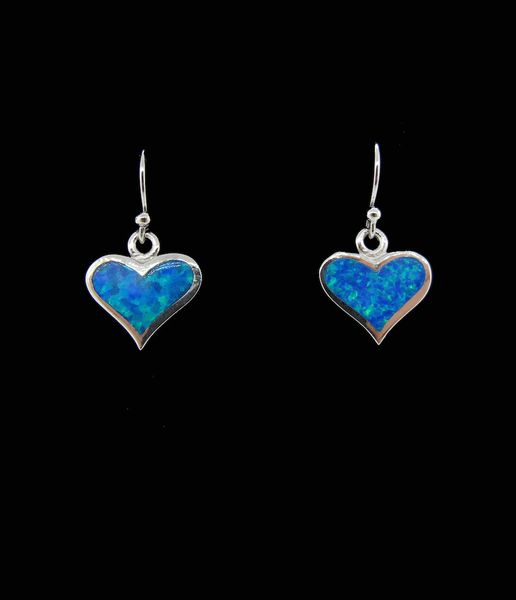 Blue Created Opal Heart Shaped Earrings