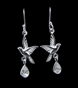 White Cubic Zirconia Silver Birds Earrings