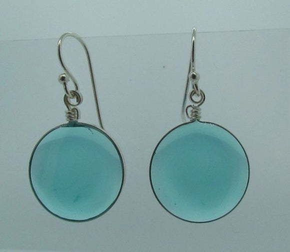 Blue Round Glass Dangle Earrings