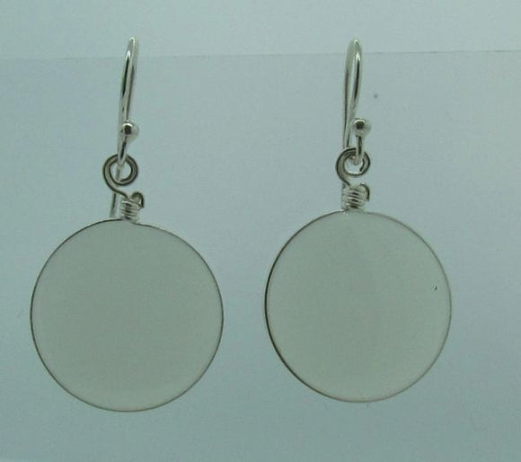 White Round Glass Dangle Earrings