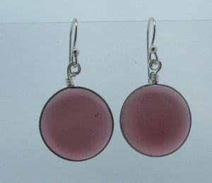Purple Round Glass Dangle Earrings
