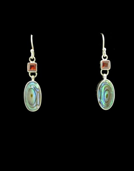 Garnet Abalone Oval Dangle Earrings