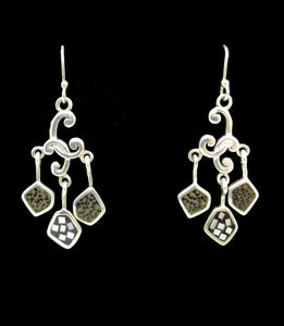 Mother of Pearl Dangly Silver Earrings