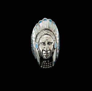 Turquoise and Mother of Pearl Inlayed Chief Ring