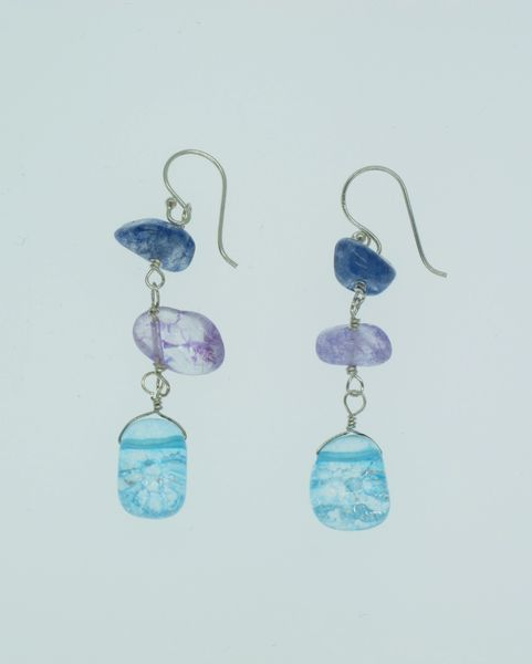 Beaded, Blue and Purple Dangle Earrings
