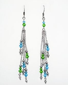 Dangle Earrings with Blue and Green Beads