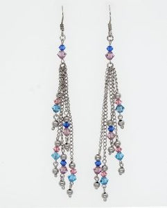 Dangle Earrings with Blue and Pink Beads