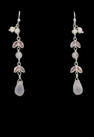 Dangle Earrings With Pink Stones