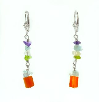 Beaded, Multicolor Dangle Earrings