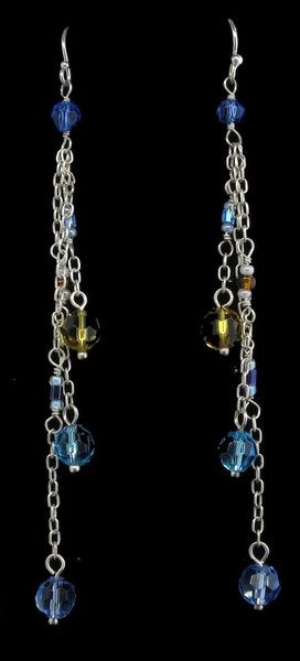 Blue and Yellow Multi-bead Dangle Earrings