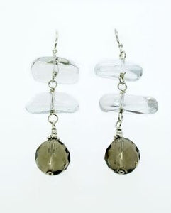 Clear Beads with Dark Sphere Bead Dangle Earrings