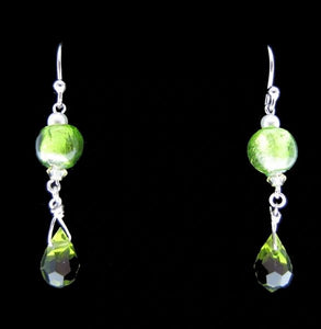 Beaded, Green Dangly Earrings