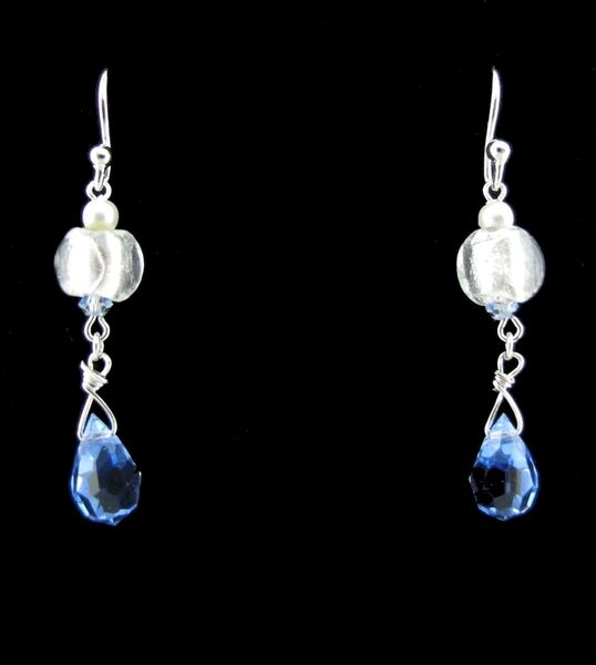 Beaded, Blue and White Dangly Earrings
