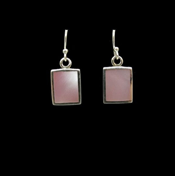Mother of Pearl Pink Square Dangle Earrings