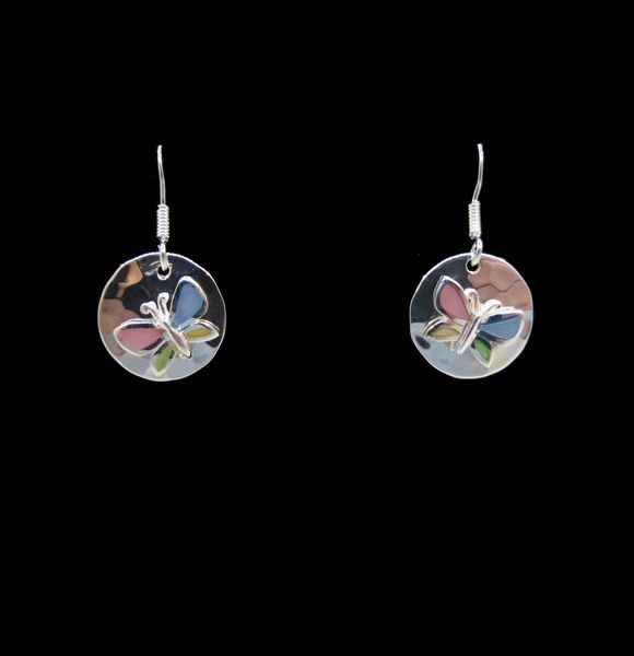 Mother of Pearl Butterfly Hammered Round Dangle Earrings